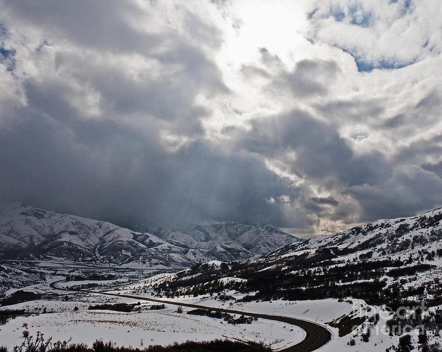 Alpine Photograph - Road Through A Snowy Mountain Landscape by Thom Gourley/Flatbread Images, LLC