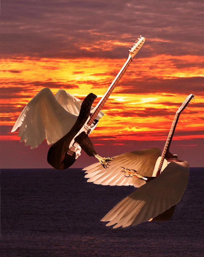Dueling Guitars Digital Art - Rock Guitar Edge by Eric Kempson