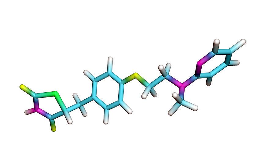 Rosiglitazone Photograph - Rosiglitazone Diabetes Drug Molecule by Dr Tim Evans