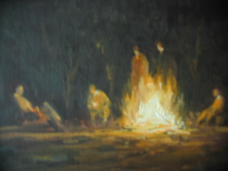 Plein Air Painting - Round The Fire by Berto Ortega