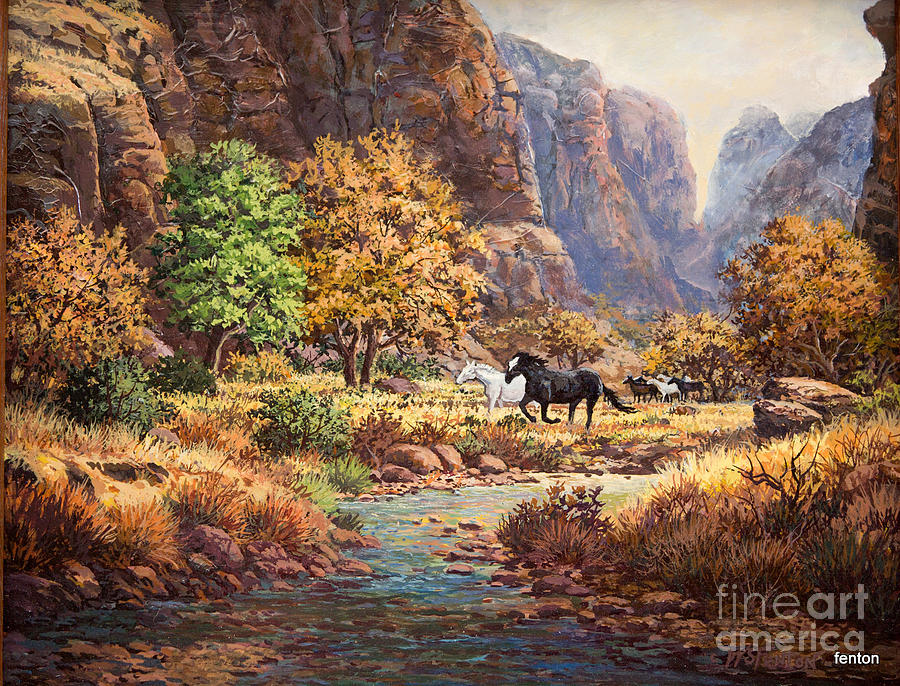 This Is A Painting Inspired By  Dalhart Winderg Painting - Running With The Wind by W  Scott Fenton