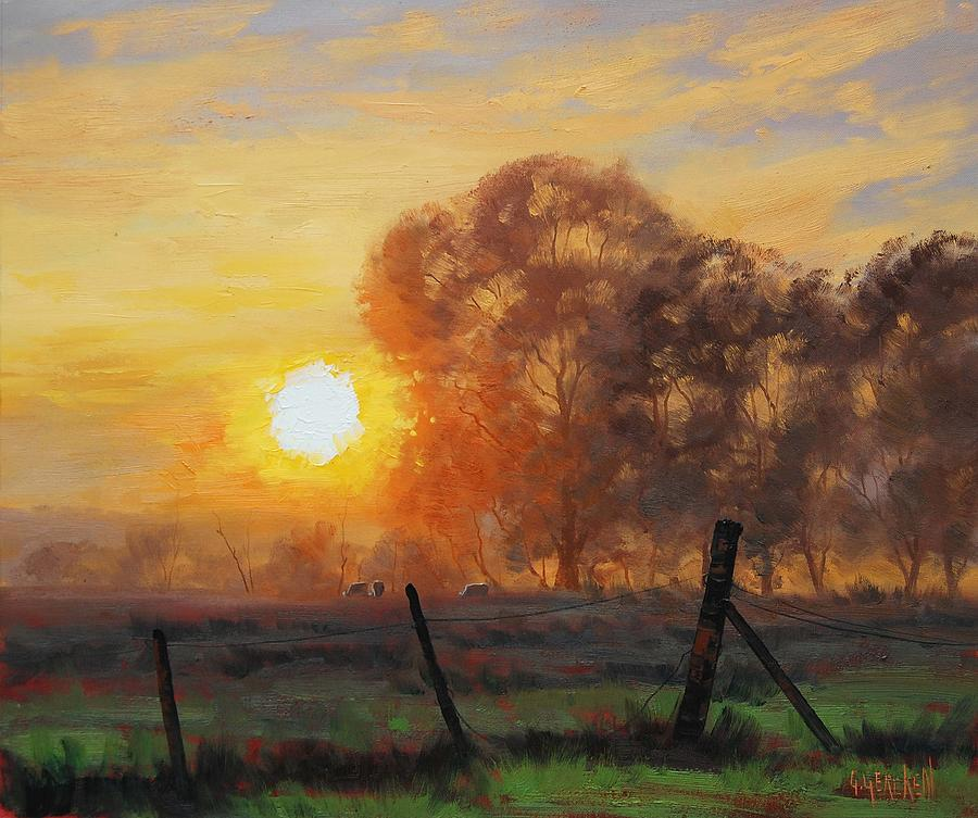 Rural Sunrise Painting By Graham Gercken
