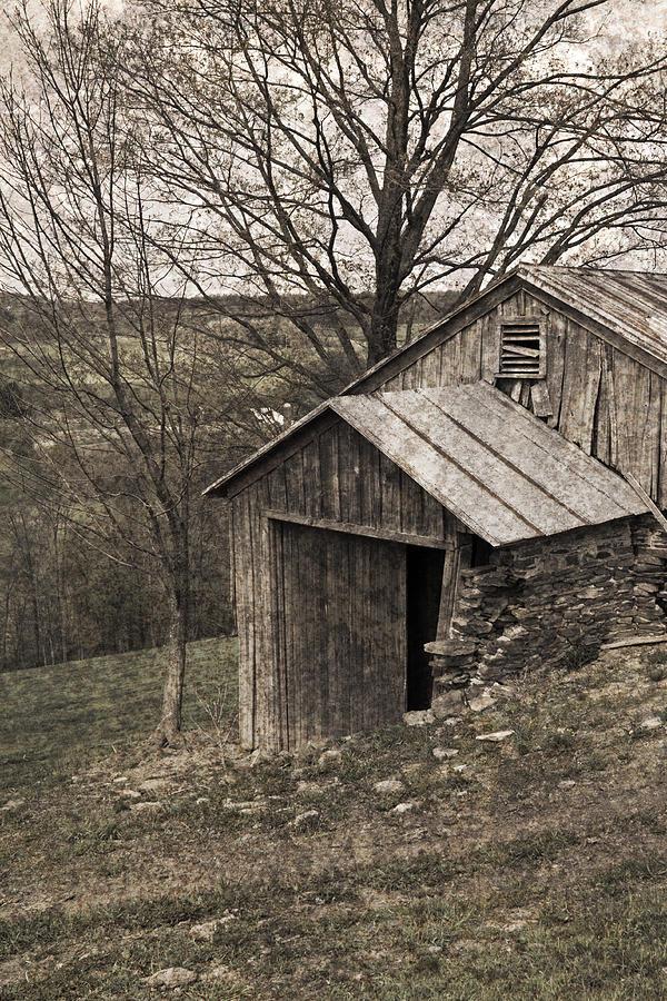 Tin Photograph - Rustic Hillside Barn Pasture by John Stephens