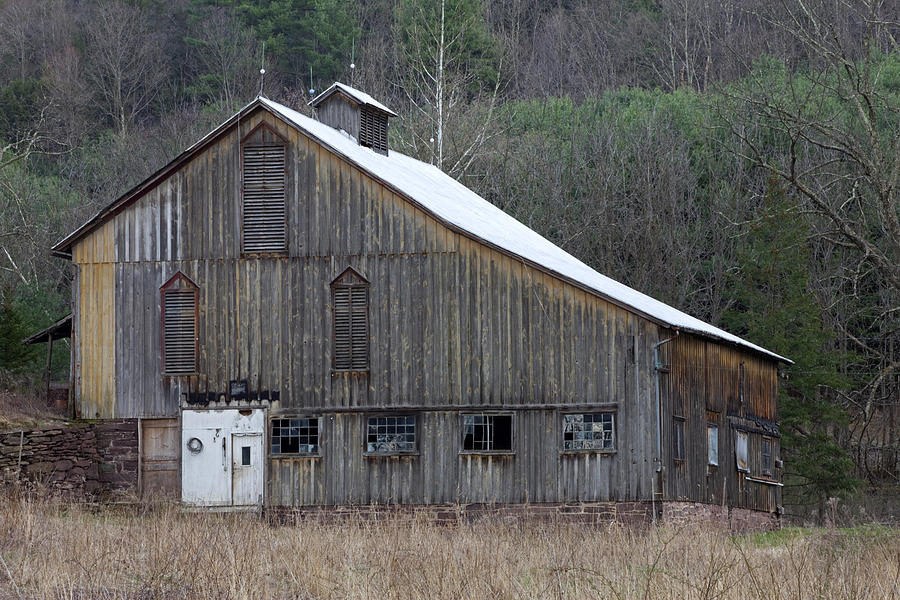 Tin Photograph - Rustic Weathered Mountainside Cupola Barn by John Stephens