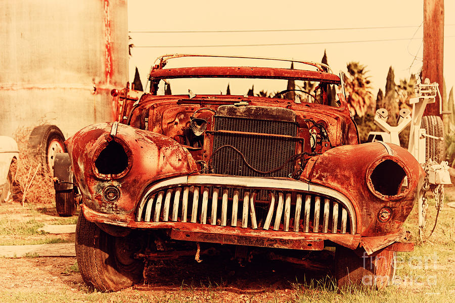 Retro Photograph - Rusty Old American Car . 7d10343 by Wingsdomain Art and Photography