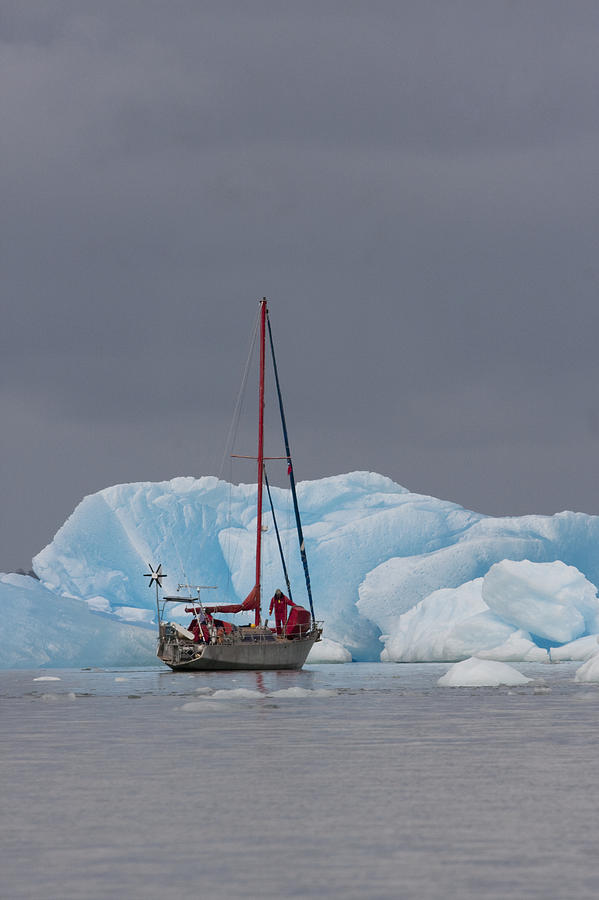 Chile Photograph - Sail Boat In Laguna San Rafael, Laguna by Peter Langer