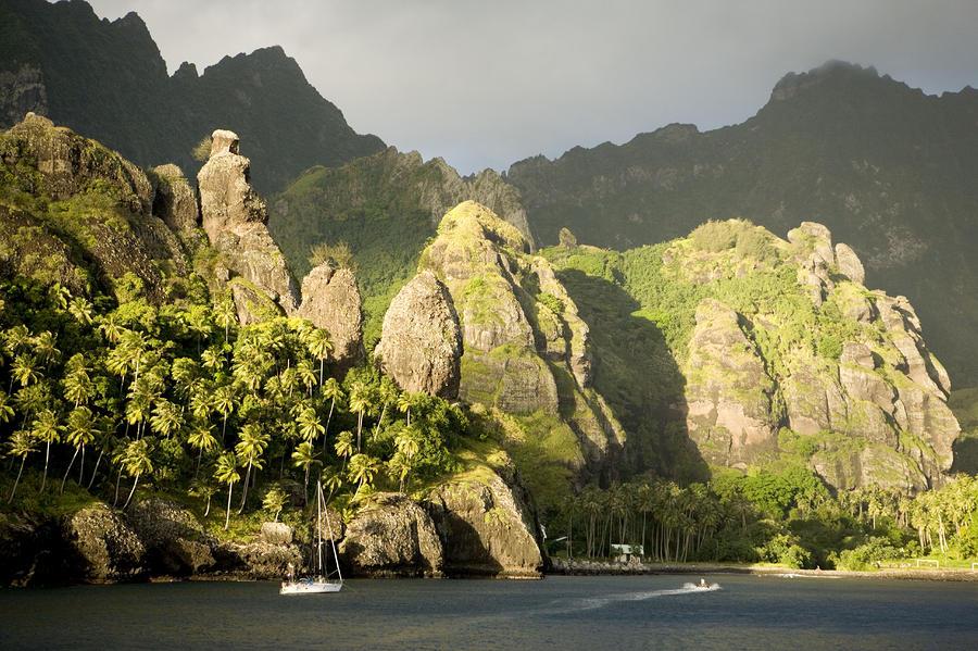 French Polynesia Photograph - Sailboat On Bay Of Virgins, Fatu Hiva by Tim Laman