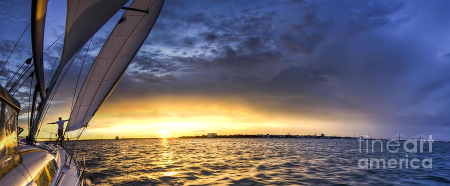 Charleston Sc Photograph - Sailing Sunset Charleston Sc by Dustin K Ryan