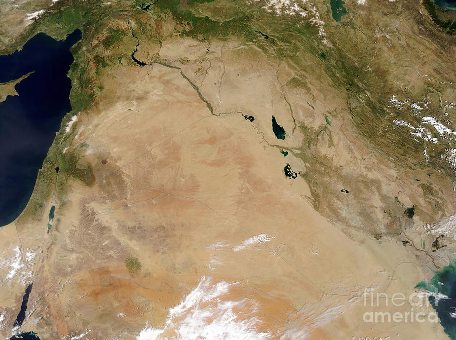 Color Image Photograph - Satellite View Of The Middle East by Stocktrek Images