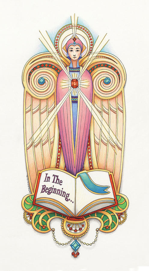 Colored Pencil Drawing - Scroll Angel - Ionica by Amy S Turner