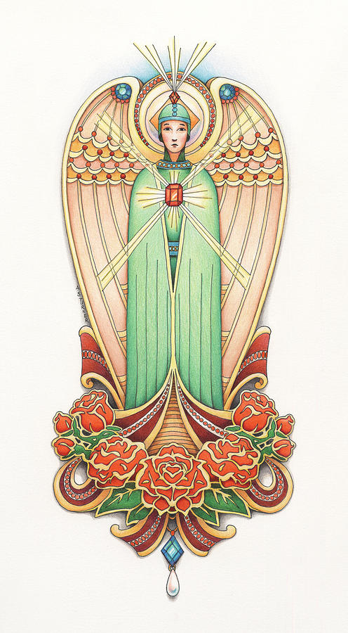 Colored Pencil Drawing - Scroll Angel - Roselind by Amy S Turner