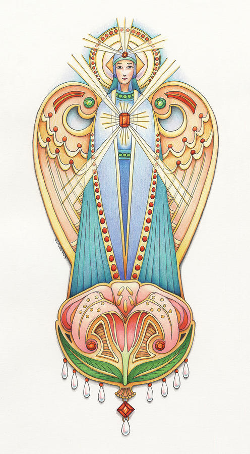 Colored Pencils Drawing - Scroll Angels - Lillium by Amy S Turner