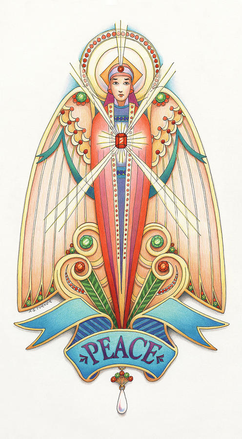 Colored Pencil Drawing - Scroll Angels - Pax by Amy S Turner