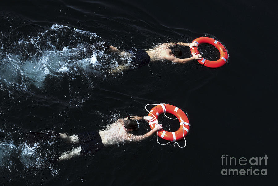 Military Photograph - Search And Rescue Swimmers by Stocktrek Images