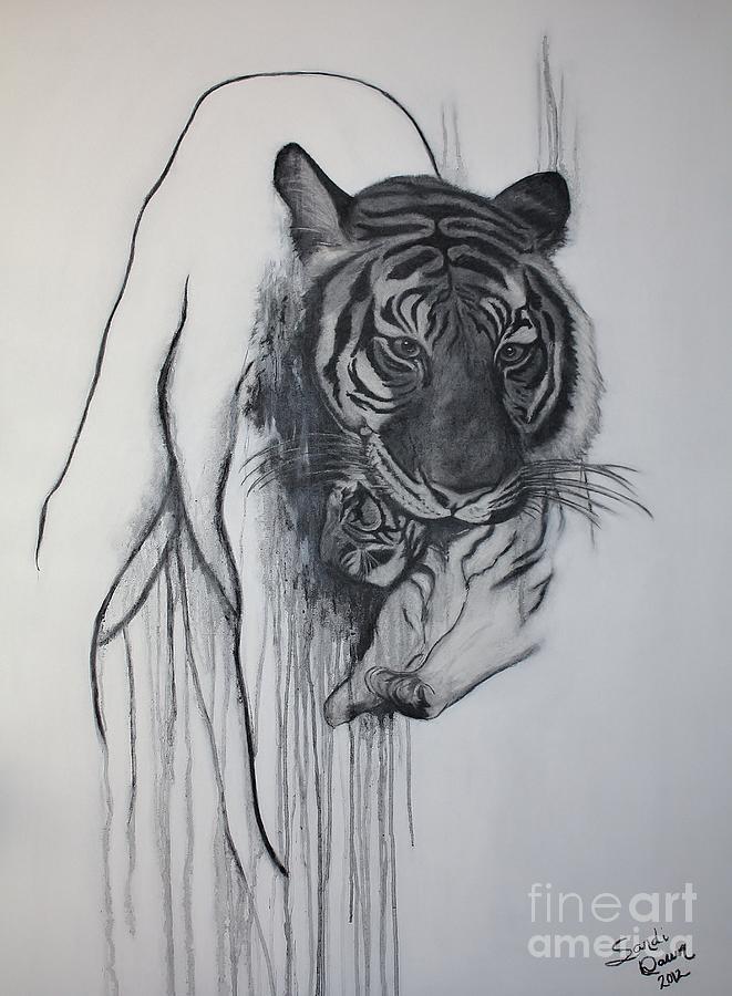 Siberian Tiger And Cub Mixed Media - Shades Of Grey by Sandi Dawn McWilliams