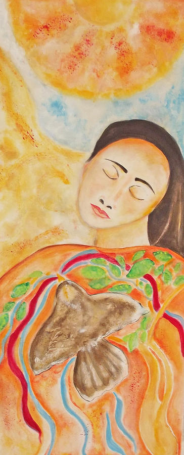 Native American Painting - She Is Listening by Gemma Benton Jackson
