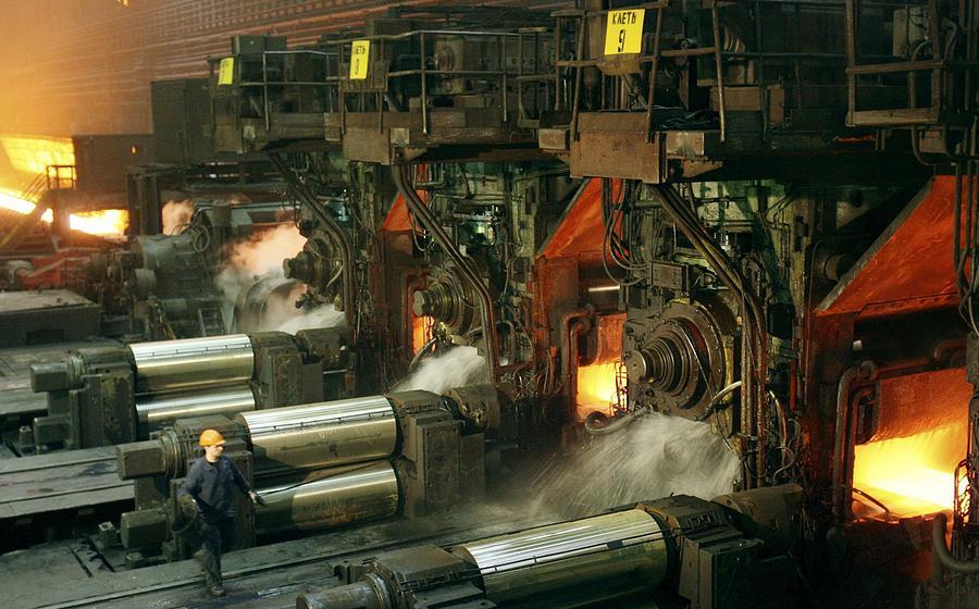 Equipment Photograph - Sheet Mill Processing Molten Metal by Ria Novosti