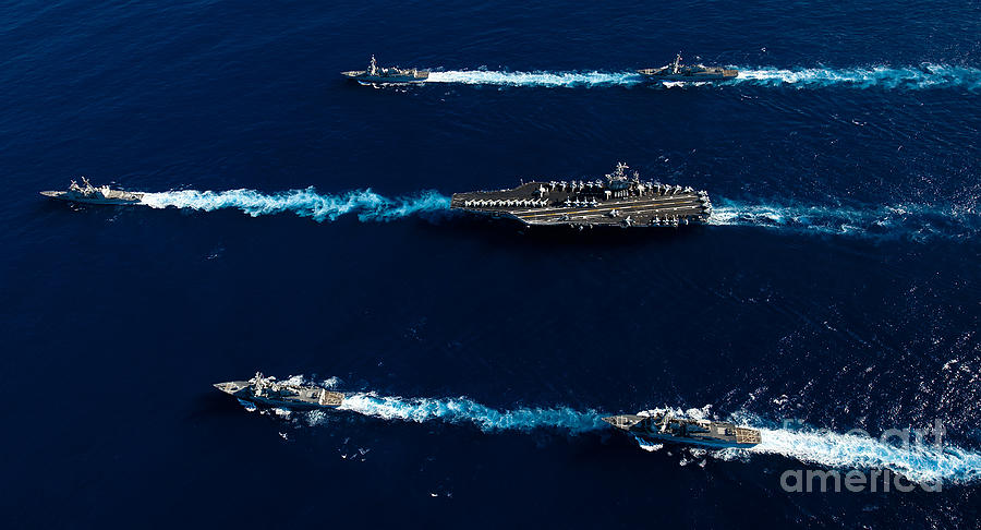 Wake Photograph - Ships From The John C. Stennis Carrier by Stocktrek Images