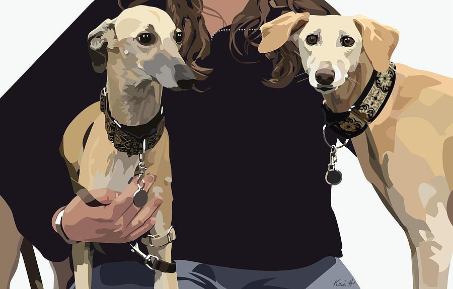 Sighthounds Digital Art - Sighthounds II by Kris Hackleman