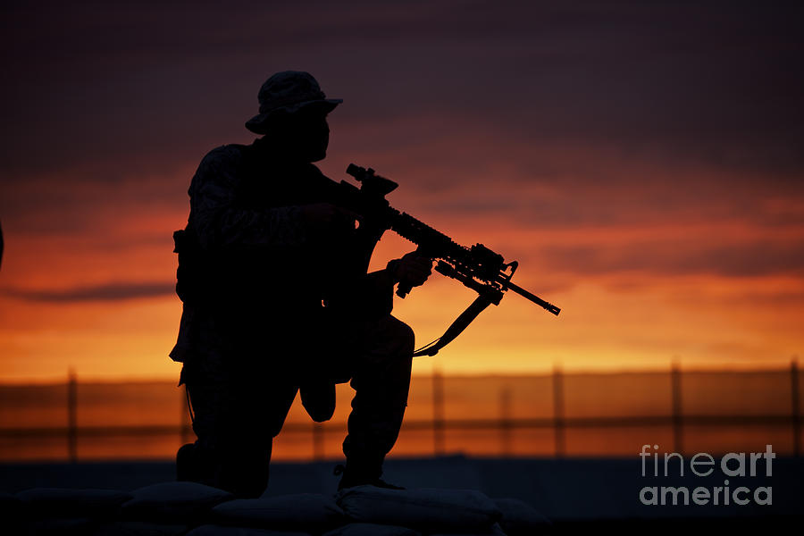 Silhouette Of A U S Marine On A Bunker Photograph By Terry