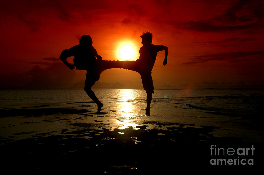 Silhouette Of Two People Fighting Photograph by Antoni Halim