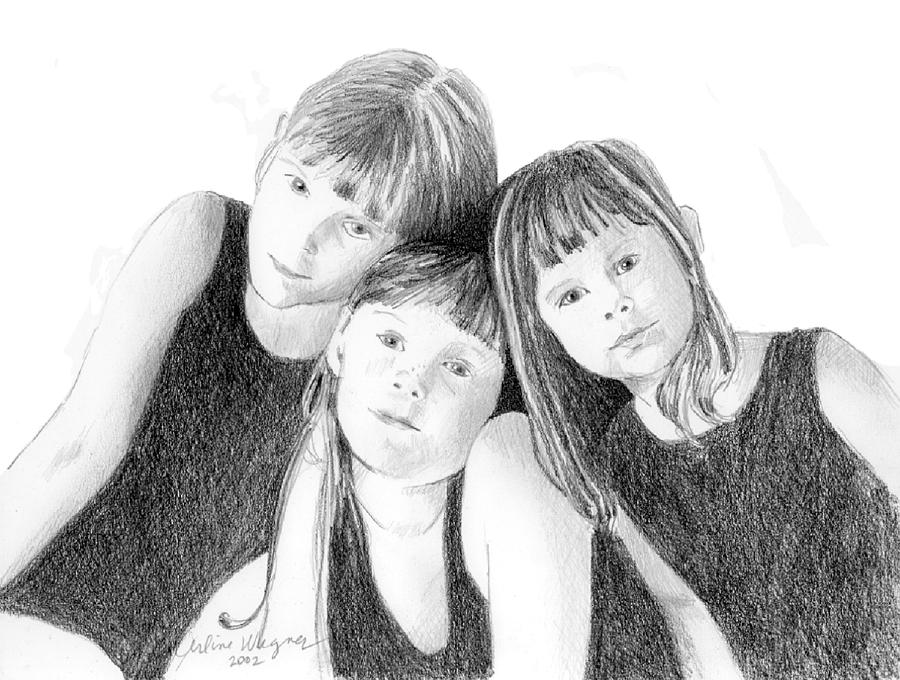 Girl Drawing - Sisters by Arline Wagner