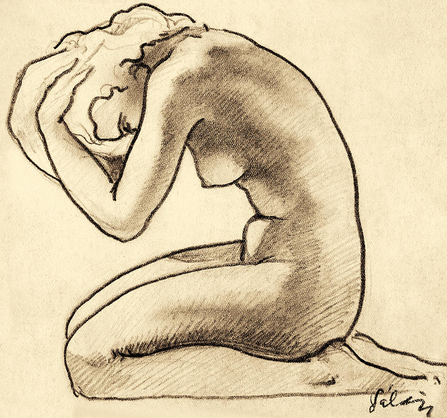 Sitting Woman Charcoal Drawing Drawing by Odon Czintos