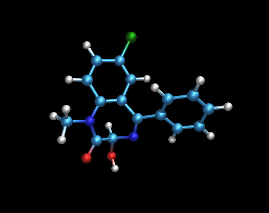 Temazepam Photograph - Sleeping Pill Molecule by Dr Tim Evans