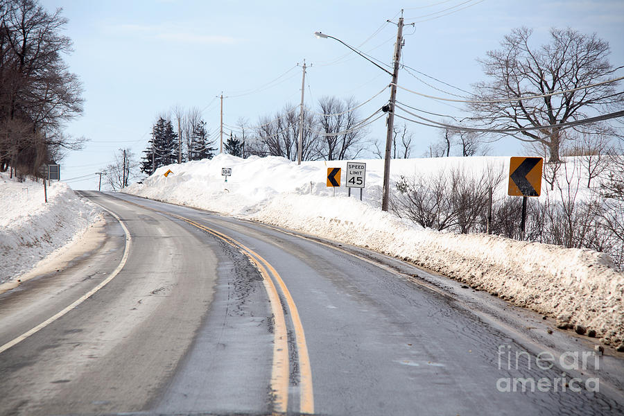 Snowstorm  - Snow By The Roadside by Ted Kinsman