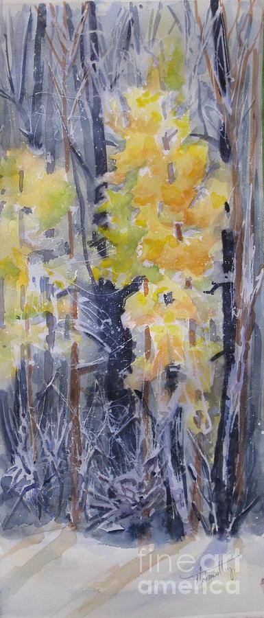 Trees Painting - Snow Splattered 2 by Mohamed Hirji