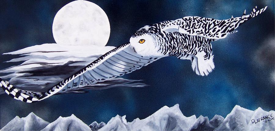 Owl Painting - Snowy Flight by Debbie LaFrance