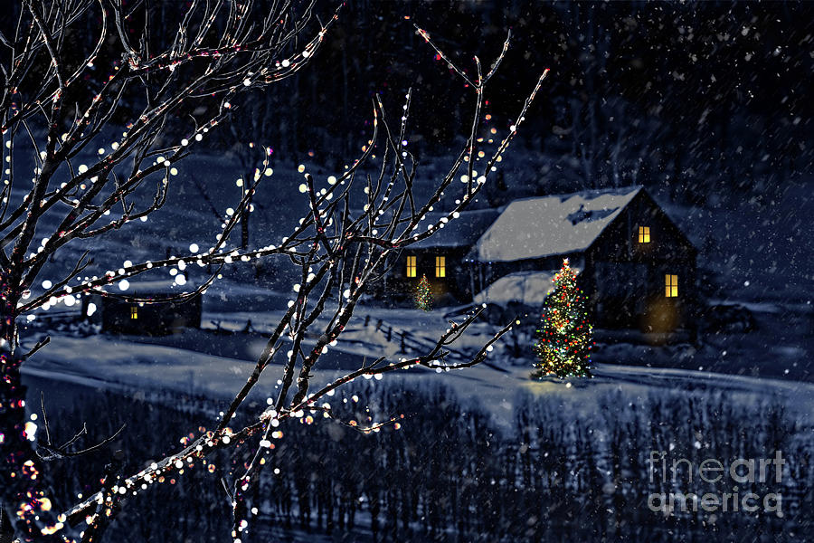 Architecture Photograph - Snowy Winter Scene Of A Cabin In Distance  by Sandra Cunningham