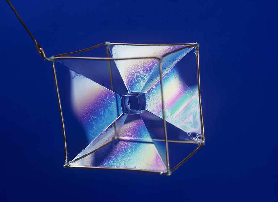 Bubble Photograph - Soap Films On A Cube by Andrew Lambert Photography