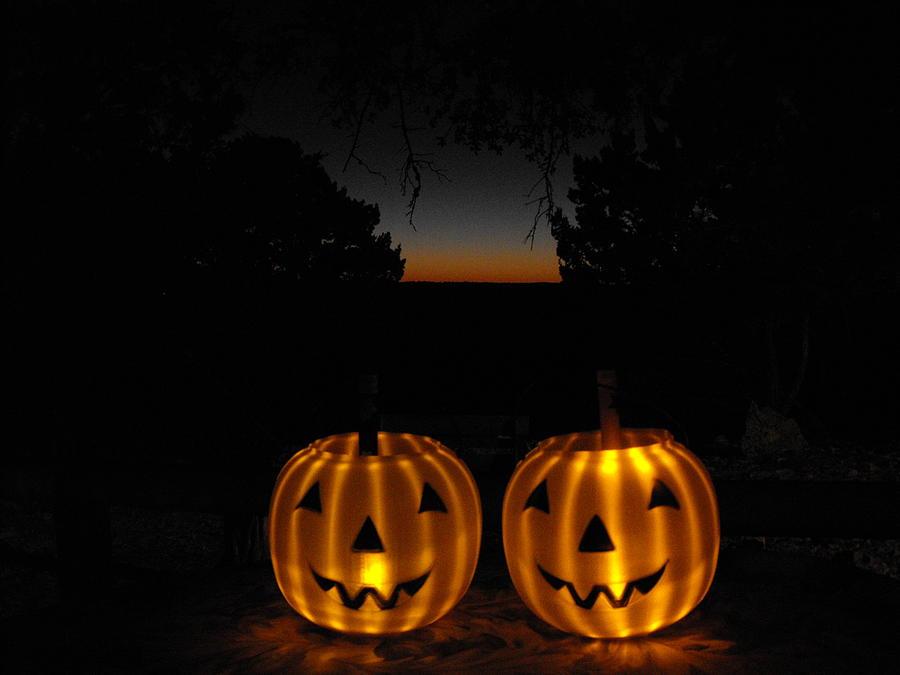 Solar Halloween Pumpkins Photograph by Rebecca Cearley