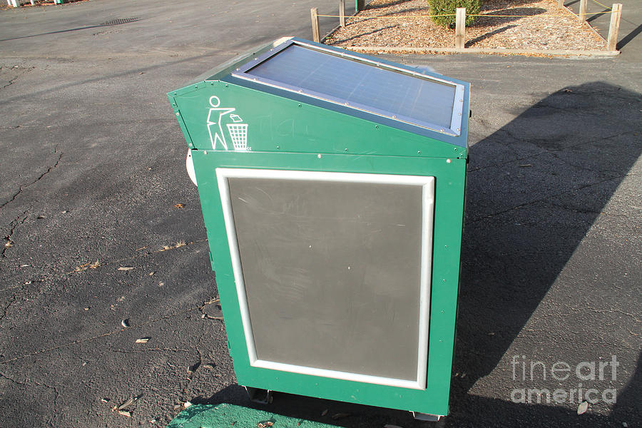 Solar Power Photograph - Solar Powered Trash Compactor by Photo Researchers, Inc.