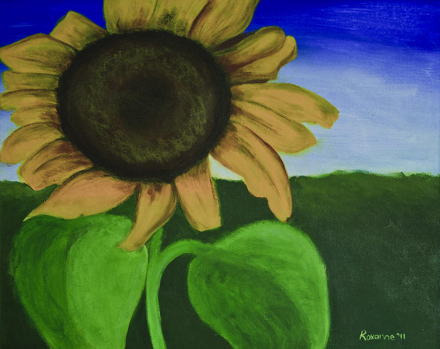 Sunflower Painting - Solo Sunflower by Roxanne Weber