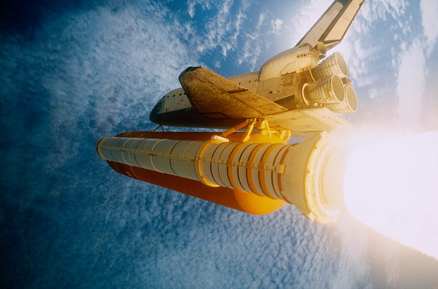 Horizontal Photograph - Space Shuttle In Space by Stocktrek