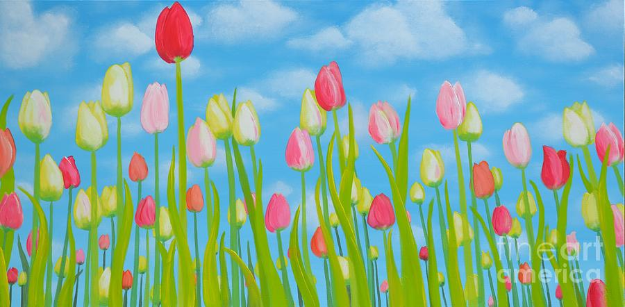 Tulips Painting - Spring Festival by Holly Donohoe