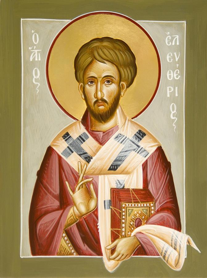 Icon Painting - St Eleftherios by Julia Bridget Hayes
