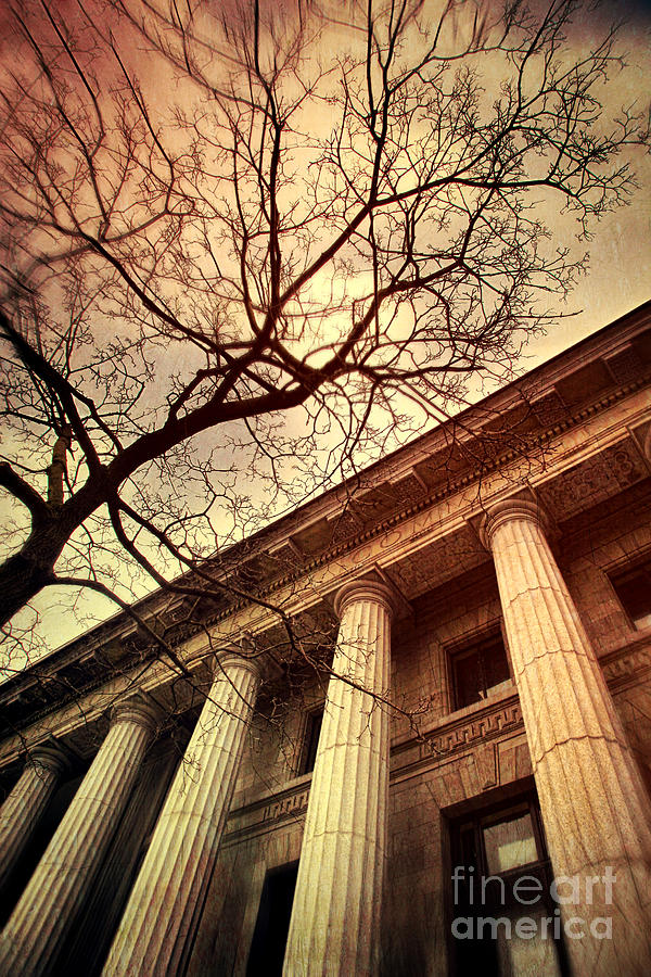 Atmosphere Photograph - Stark Facade Of Justice Courthouse From Low Angel View  by Sandra Cunningham