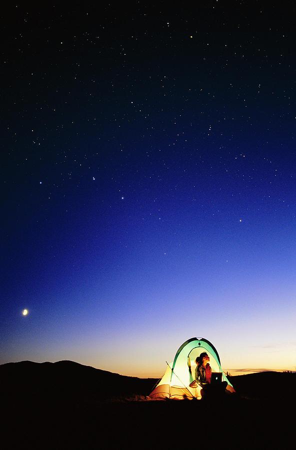 Night Sky Photograph - Starry Sky And Stargazer by David Nunuk