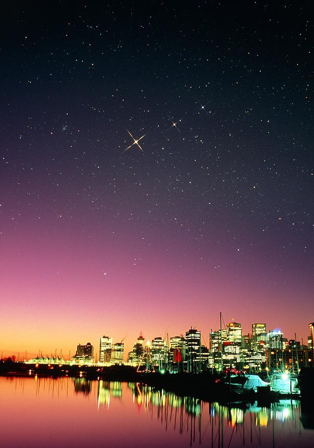 Starry Sky Photograph - Starry Sky Over Vancouver by David Nunuk