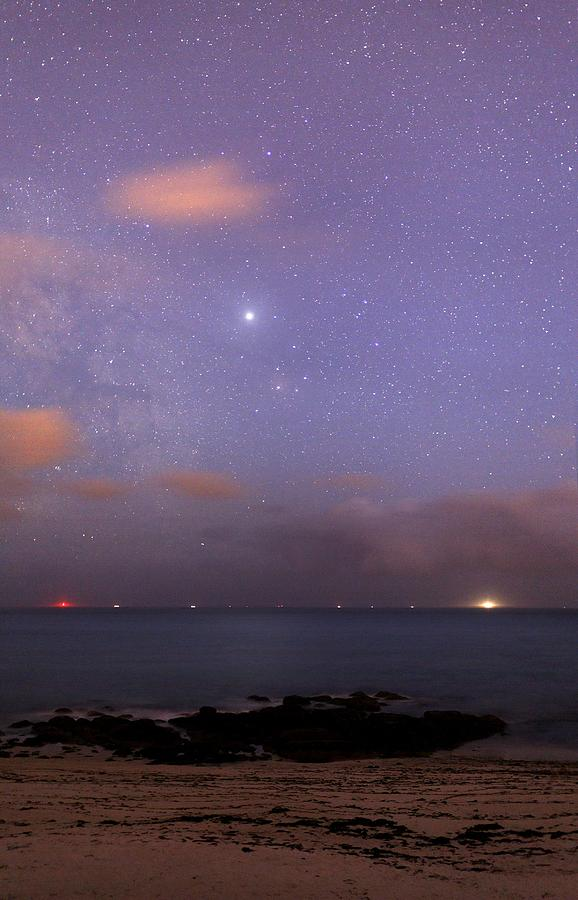 Jupiter Photograph - Stars And Jupiter In A Night Sky by Laurent Laveder