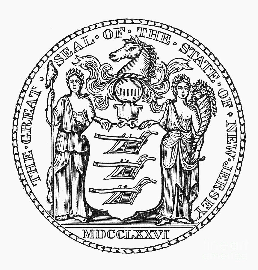 State seal new jersey photograph by granger for New jersey state seal coloring page