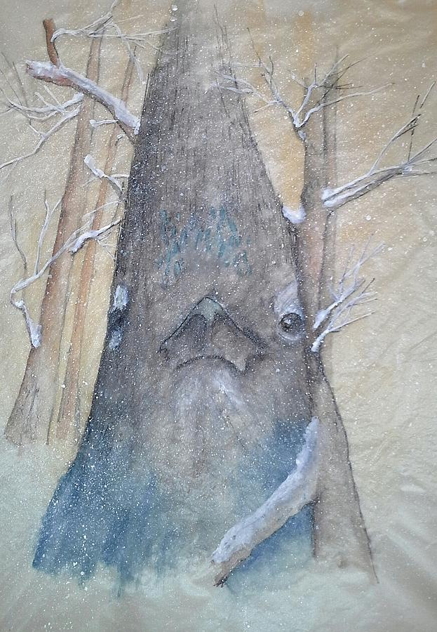 Painting. Bird. Stellar Jay. Winter. Snow. Painting - Stellar Jay From Front by Debbi Saccomanno Chan