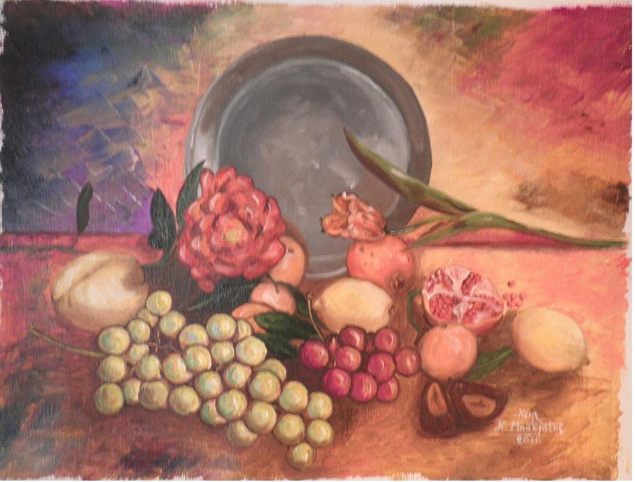 Fruit Painting - Still Life by Konstantinos Baklatzis