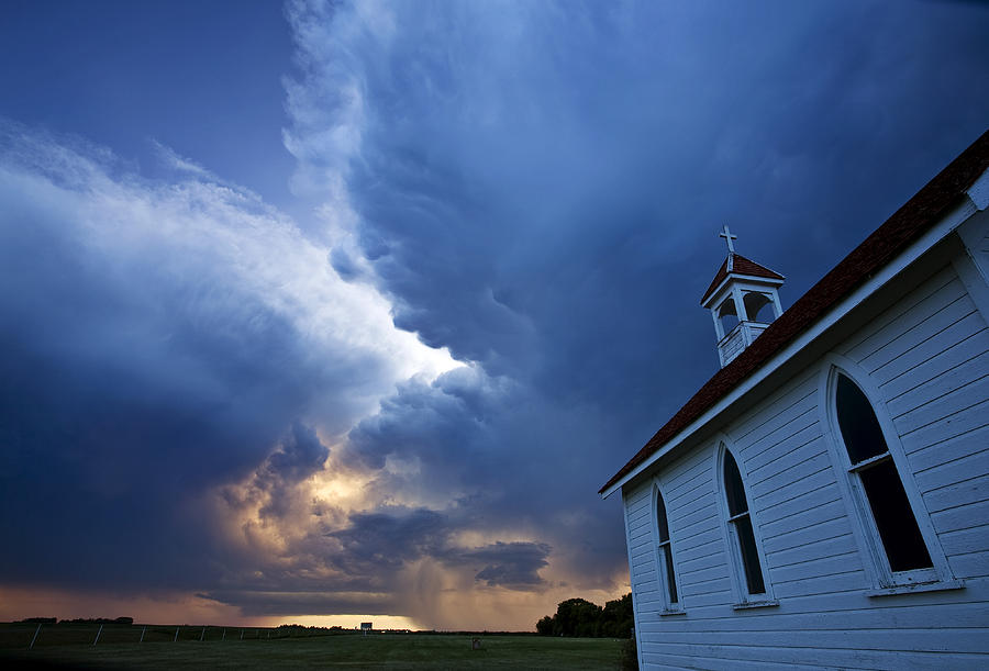 Church Digital Art - Storm Clouds Over Saskatchewan Country Church by Mark Duffy