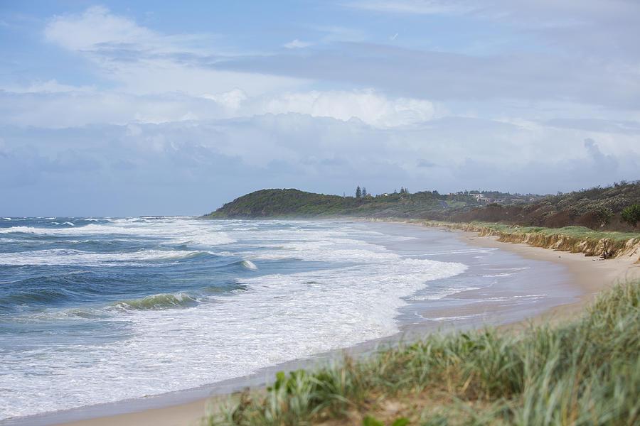 Horizontal Photograph - Storm Swell Waves On A Beach by David Freund