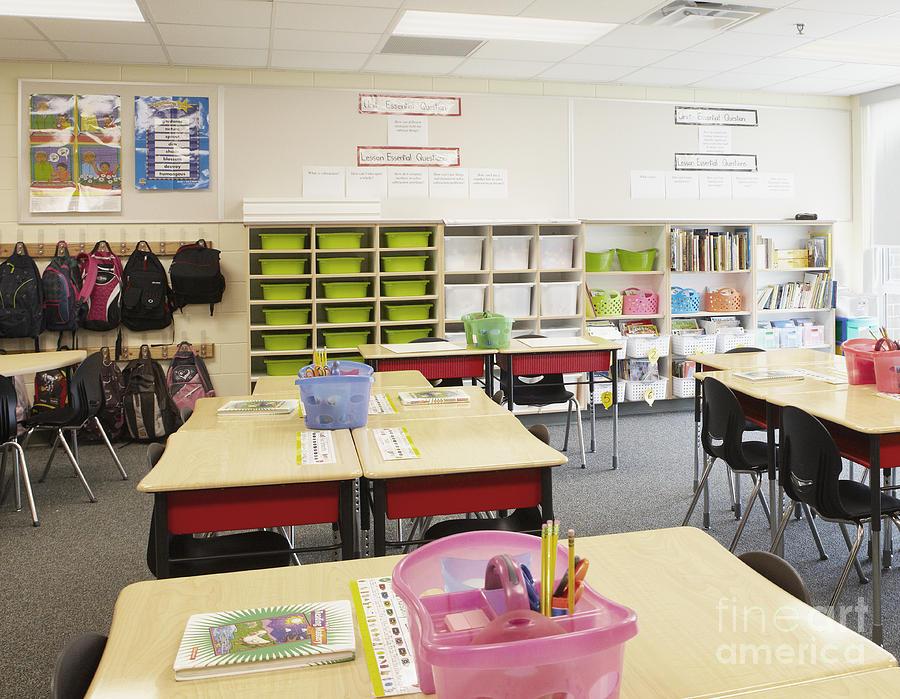 Accomplish Photograph - Student Desks In Classroom by Skip Nall