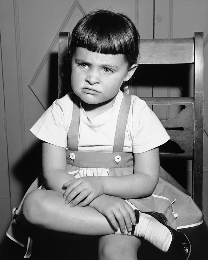 Child Photograph - Sulking Girl (4-5) Sitting On Chair, (b&w), by George Marks